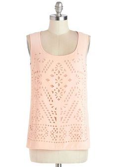 Peach Gallete Top - Better, Pink, Sleeveless, Chiffon, Sheer, Woven, Mid-length, Pink, Solid, Cutout, Daytime Party, Sleeveless, Scoop
