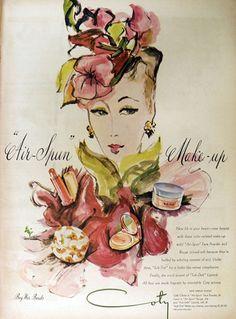 1944 Coty Air-Spun Make-Up Ad ~ Carl Erickson Art