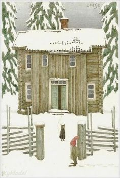 Sweden...with elf and cat. Watercolor by Lennart Helje