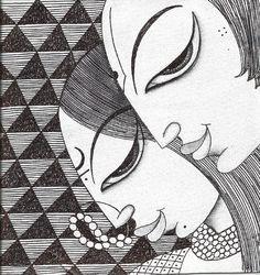 Artflute - Buy Limited Edition Prints of Original Contemporary Art Madhubani Art, Madhubani Painting, Ganesha Painting, Mandala Art Lesson, Doodle Art Designs, Indian Folk Art, Indian Art Paintings, Art Drawings Sketches, Zentangle Drawings