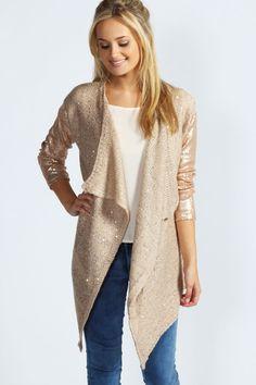 Sequin Sleeve Knit Cardigan at boohoo.com