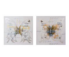 Set de 2 cuadros pintados a mano Mariposas - 70x70 cm