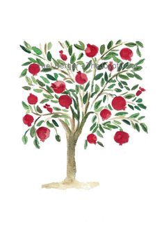 Pomegranates tree is a fine art print of my original watercolor (the original was sold). It is inspired by old folk art paintings. Pomegranates