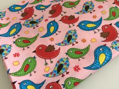 Fat Quarter  100 cotton fabric Birds Color Pink by Craftlandia23, €2.75