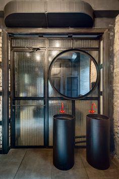 Dogs&Tails Bar and Café in Kiev, Ukraine by Sergey Makhno Architects. Dogs&Tails Bar and Café in Kiev, Ukraine by Makhno Studio Wc Design, Toilet Design, Loft Design, Bathroom Toilets, Washroom, Small Bathroom, Bathroom Storage, Loft Interior, Bathroom Interior Design