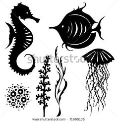 Sea Animals Silhouette Vector - 71995135 : Shutterstock