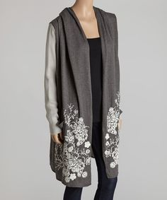 Take a look at the Barrel Sportswear Charcoal Floral Open Cardigan on #zulily today!