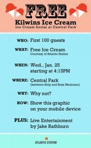 Free Kilwin's Ice Cream at Atlantic Station's Central Park on January 25, 2012 (First 100 People)
