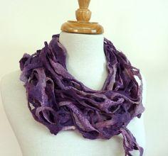 Purple Wool Scarf. Felt Scarves on Etsy. Winter Woven Scarf.