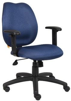 Boss Office Products B1014BE Any Task MidBack Task Chair with Adjustable Arms in Blue -- Learn more by visiting the image link.Note:It is affiliate link to Amazon.