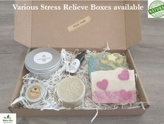 Various Stress Relief Spa Gift Boxes Handmade Cosmetics, In Cosmetics, Natural Cosmetics, Vegan Deodorant, Natural Deodorant, Cheer Up Gifts, Spa Basket, Coconut Soap, Baby Gift Box