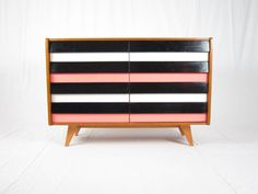 Czech retro pink chest of drawers produced by Jiroutek Interier - 1960s
