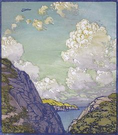 Into the Blue - Color Block Print by Frances Gearhart
