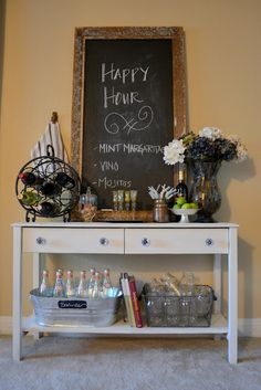 "Drink on buffet with a chalkboard ""menu"" what a great idea for a beverage bar / … – coffee stations at home small spaces Diy Home Bar, Diy Bar, Bars For Home, Mini Bars, Happy Hour, Office Desk Organization, Buffet, Do It Yourself Inspiration, Diy Shows"