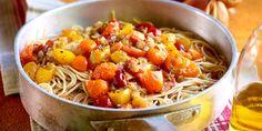 Volkorenspaghetti met gekonfijte sjalotten en kerstomaten
