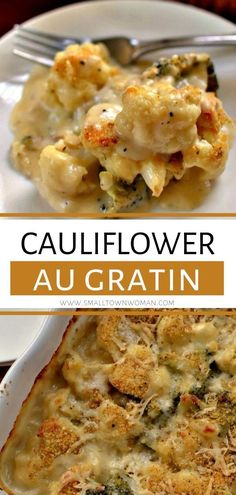 This Cauliflower Au Gratin is a delectable casserole that comes together quickly easily and contains no canned soup! It is lightly sprinkled with a super easy crumb topping and baked to golden perfection. Save this roasted cauliflower with Gruyere cheese! Side Dish Recipes, Vegetable Recipes, Low Carb Recipes, Vegetarian Recipes, Cooking Recipes, Healthy Recipes, Chicken Recipes, Rice Recipes For Dinner, Easy Cooking