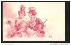 Artiste-CPA E. Bottaro: Junges Paar, Frau mit Fächer, Mann mit Zylinder und Gehstock