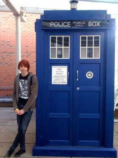 Charlie McDonnell AND The Tardis. This is a beautiful picture.    *You're just had the almost imponderable joy of seeing Charliestandnexttoapoliceinthebox. Which makes you, like, um... like... cool?