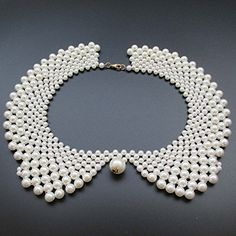 Handmade Faux Pearls Detachable False Collar Necklace Women Clothing DIY Craft Supply In White -- To view further for this item, visit the image link.