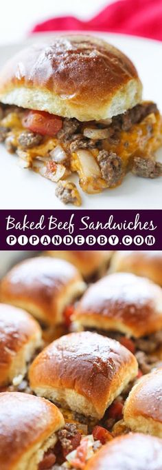 Baked Cheesy Beef Sandwiches | Call these sliders, burger or appetizers.. either way, they are the PERFECT party food!