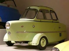 1955 Inter Cabin Scooter - I know it looks funny, but I like it. Strange Cars, Weird Cars, Microcar, Engin, Unique Cars, Vw T1, Cute Cars, Small Cars, Car Humor