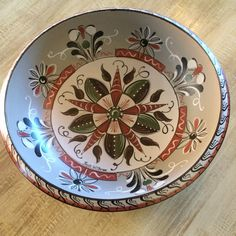 Vintage Bowl with Rosemaling by RusticRoseArt on Etsy
