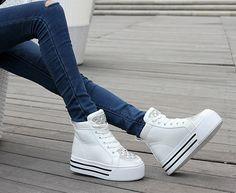 Womens #white leather lace up #platform shoe rhinestone ornament, round toe, leather upper.