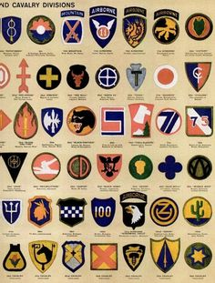 See dozens of vintage US Army & Navy shoulder insignia, plus WWII military medals & ribbons - Click Americana Navy Insignia, Military Insignia, Military Units, Military History, Military Medals And Ribbons, Us Army Uniforms, Us Army Patches, Air Force Bomber, Tactical Patches