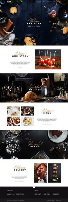 """We could leave the FLCKWLL script with """"photobooth"""" tagline on the main photo and have a clean FLCKWLL in Brandon Grotesque in the header. ROSA Restaurant Website"""