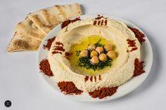 ~ Hummus ~ A chick pea dip served with olive oil and pita bread. Pita Wrap, Lebanese Recipes, Shawarma, Vegetarian Options, Falafel, Hummus, Olive Oil, Dip, Menu