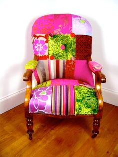 Bold Pink & Green patchwork armchair