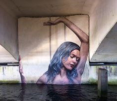 hula paints semi-submerged floating females in undisclosed locales at sea // water mural