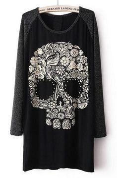 Black Long Sleeve Skull Print Beading T-Shirt