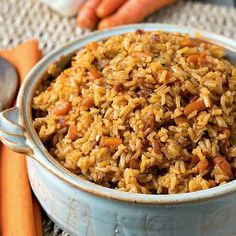 Nourishing Rice (Arroz con Sustancia) - A fabulous Portuguese-inspired rice flavored with prosciutto, shallots, carrots and garlic.