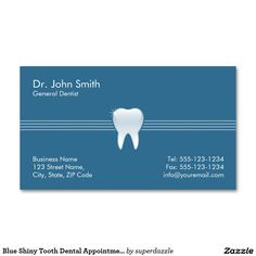 Blue Shiny Tooth Dental Appointment business card template with an image of a shiny tooth. An appointment card on the back of this Dentistry Dentist business card template, which helps you distributed your business cards. You can change text and background colors to make them perfect for your taste. A great design for dentist, dental office, dental assistant, orthodontist, dental hygienist and other dental services.