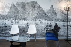 This old drawing of Table Mountain was installed in a doctor's reception area. Map Wallpaper, Old Maps, Reception Areas, Dining Chairs, Table Mountain, Wallpapers, Display, Robin, Bedroom Ideas