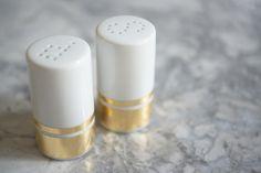 easy gold salt + pepper shaker DIY