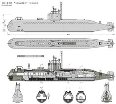 Ghadir_Side1 Midget Submarine, Boat Drawing, Deck Plans, Navy Ships, Technical Drawing, Aircraft Carrier, War Machine, Battleship, Sailing