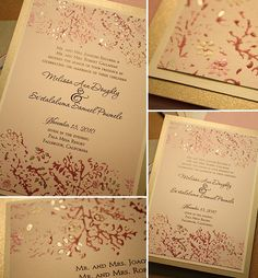 Diy wedding invitation design idea in pink, ivory and gold love these colors could use shimmery pink to back the invitation, emboss tree branches on computer printed invites