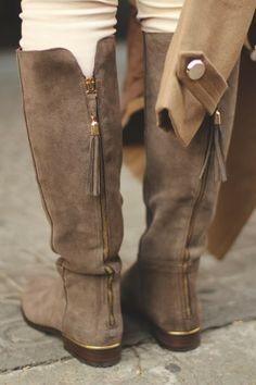 Velvet Leather Long Boots