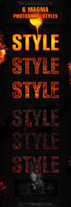 6 Magma Styles Photoshop. Download here: https://graphicriver.net/item/6-magma-styles/16850299?ref=ksioks