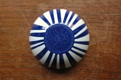 Cathrineholm Striped Enamel Bowl - Danish Modern Blue And White Enamel Bowl.