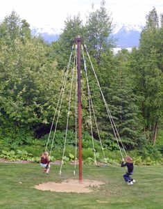 Bear Creek Winery, Homer 17 is part of Diy playground - Shown here Maypole Swing Kids Outdoor Play, Kids Play Area, Backyard For Kids, Outdoor Fun, Backyard Patio, Backyard Landscaping, Backyard Hammock, Outdoor Games, Landscaping Ideas