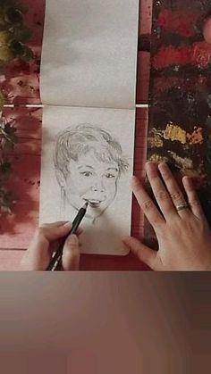 Artist Maibis Navarro paints portrait in her sketchbook Portrait, Cover, Creative, Artist, Books, Painting, Inspiration, Biblical Inspiration, Libros