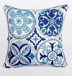 Decorative tribal textile interpretation of Blue Willow Pottery.  Classic Suzani needlework on cotton canvas edged in navy blue piping 16 x 16 $44
