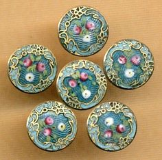 Small Beautiful Basse Taille Enamel Buttons with Rosebuds...Sold Separately