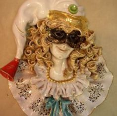 "ITALIAN COMEDY - PULCINELLA CERAMIC MASK (WALL DECOR): 20"" (50cm) Tall.    The Italian Comedy (""Commedia dell'Arte) was a humorous theatrical presentation performed by professional players travelling in troupes throughout Italy in the 16th century. Performances took place on temporary stages, mostly on city streets but occasionally in court venues. The better troupes performed in palaces and became internationally famous."