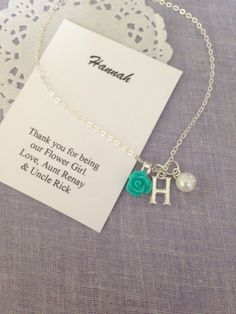 Children necklace, flower girl gifts, rose, initial, personalized ORGANZA bag. **************************** PLEASE NOTE: this listing is for a