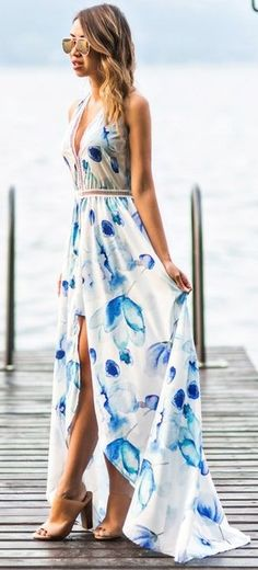 #summer #classy #outfits | Floral Maxi Short Jumpsuit