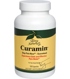 Curamin by Terry Naturally (Turmeric Curcumin Herbal Supplement). Experience Safe and Effective Pain Relief*. Blends four powerful, effective and clinically proven ingredients.  Features clinically proven BCM-95 bioavailable curcumin. Available at ProHealth.com ($53.56) #ProHealth